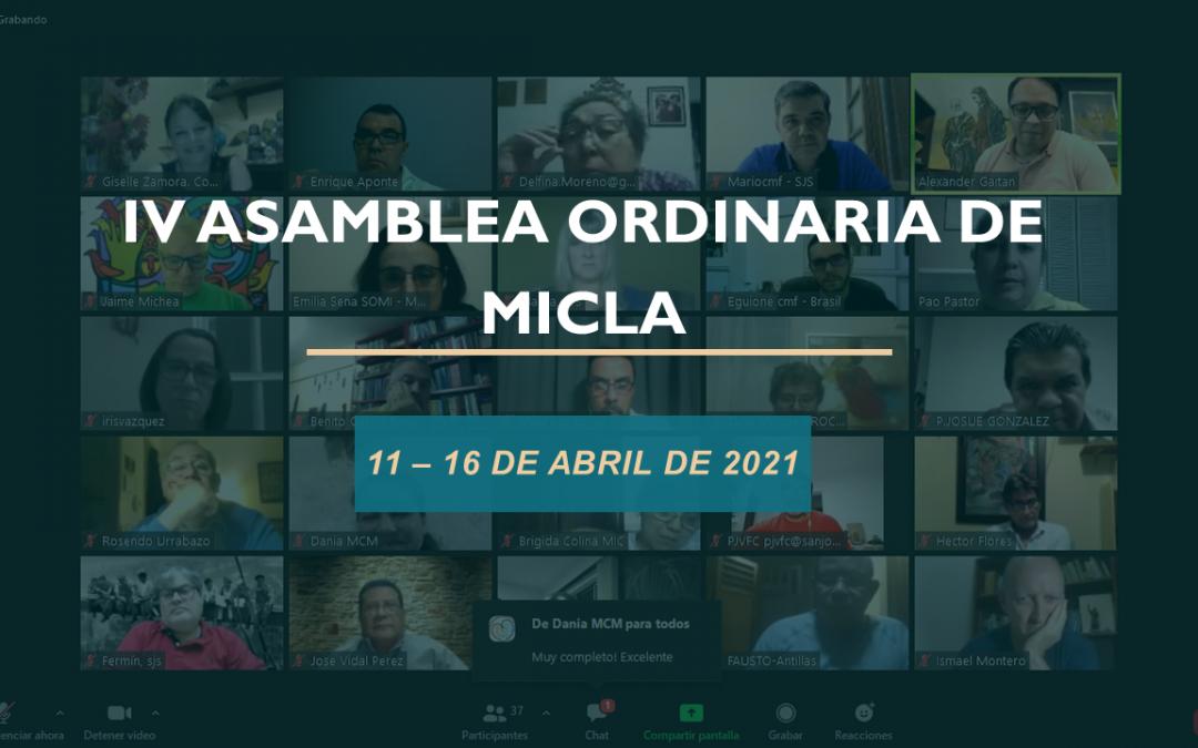 IV ASAMBLEA ORDINARIA DE MICLA 11 – 16 DE ABRIL DE 2021